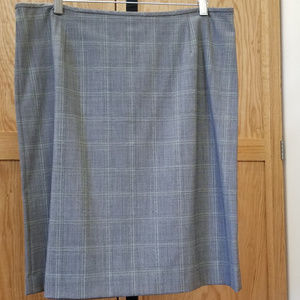 LANDS' END Straight Skirt Windowpane Gray Sage 16